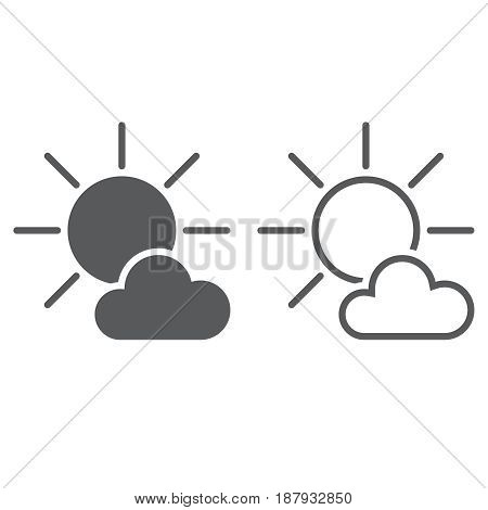 Mostly Sunny Weather Icon. Solid And Outline