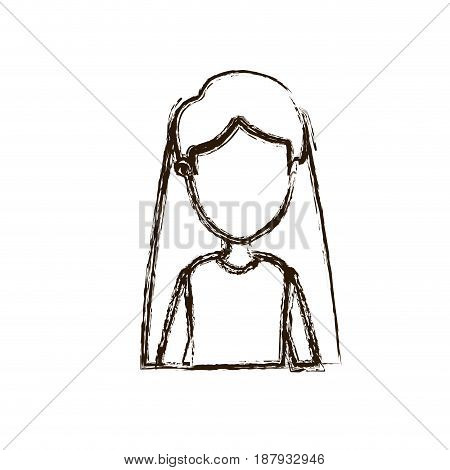 blurred silhouette caricature faceless half body woman with straight long hairstyle vector illustration