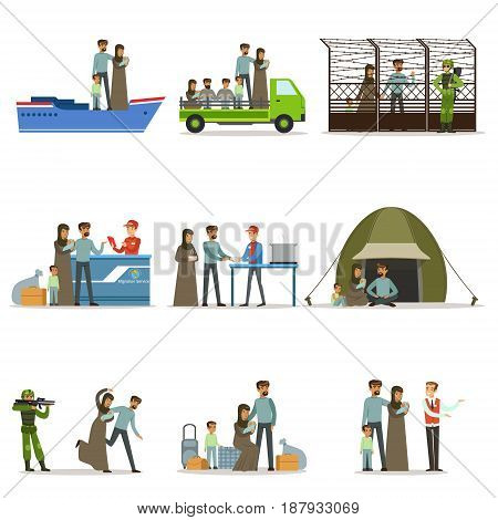 Stateless refugees set. Illigal immigrants and war victims vector illustrations isolated on a white background