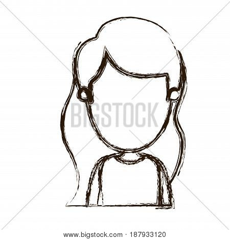 blurred silhouette caricature faceless front view half body girl with long wavy hair vector illustration