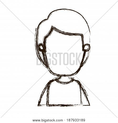 blurred silhouette caricature faceless front view half body boy with hairstyle vector illustration