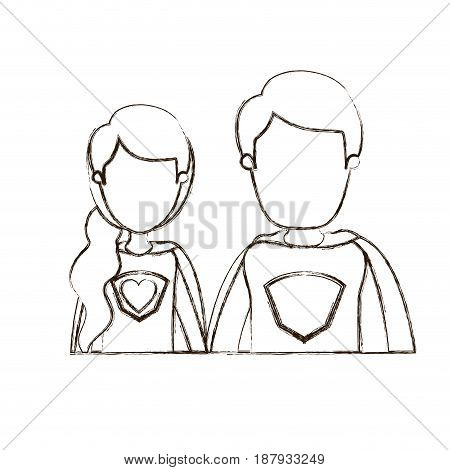 blurred thin contour caricature faceless half body young couple female and male super hero with heart symbol in uniform vector illustration