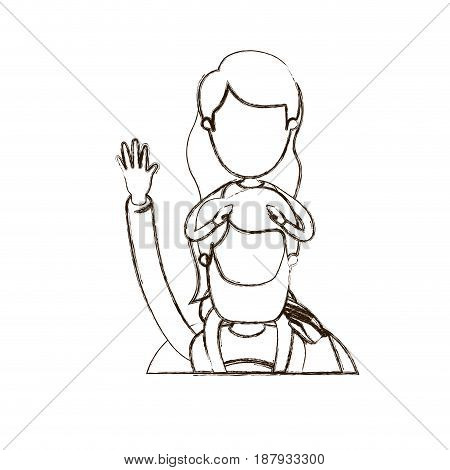 blurred thin contour caricature faceless half body super dad hero greeting with girl on his back vector illustration