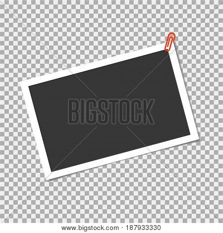 Photo Frame With Staple On Transparent Background. Vector Template, Blank For Trendy And Stylish Pho