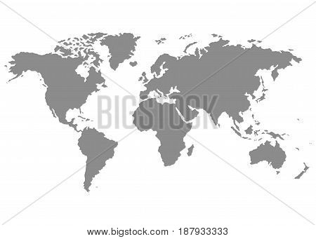 The Earth World Map on white background. Vector illustration