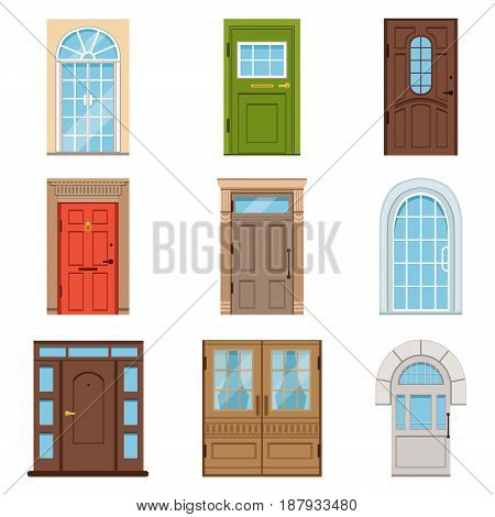Colorful front doors. Collection of vIntage and modern doors to houses and buildings vector illustrations isolated on a white background
