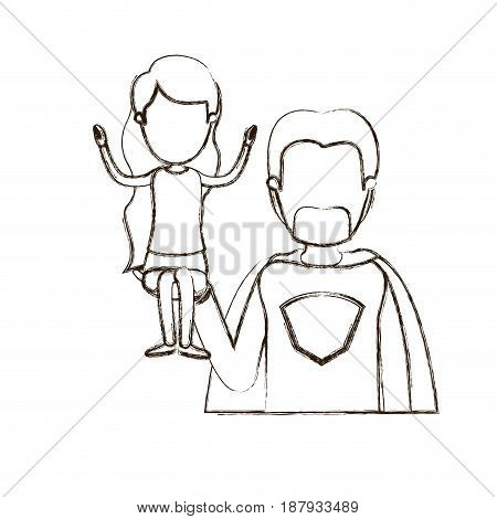 blurred thin contour caricature faceless half body super dad hero with girl on his hand vector illustration