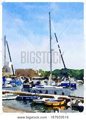 Digital watercolor painting of a sailing boat at a pontoon in a harbor with space for text.