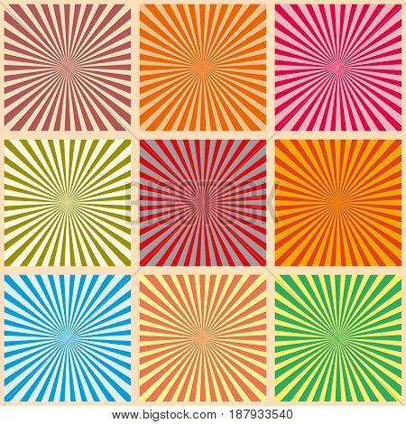 Set Of Colorful Rays. Vector Illustration. Retro Sunburst Background. Grunge Design Element. Black A