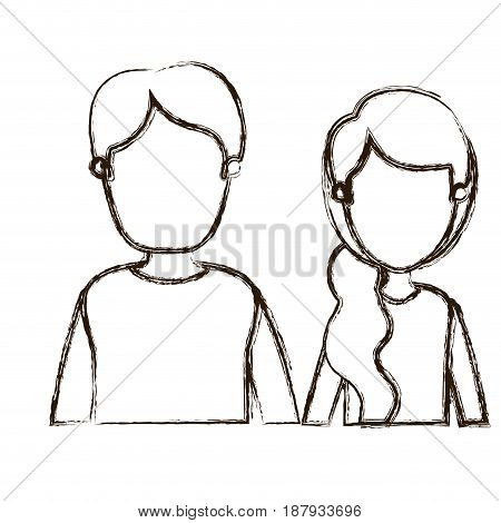 blurred thick silhouette caricature faceless front view half body couple woman with side ponytail hair and young man vector illustration