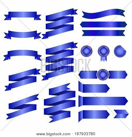 Blue Ribbons Isolated On Whte Background, Vector Illustration, Graphic Design Useful For Your Design