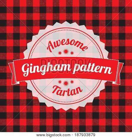 Gingham pattern, checkered seamless background, red color