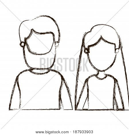 blurred thick silhouette caricature faceless front view half body couple woman with long hair and bearded man vector illustration