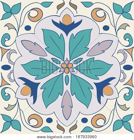 Vector decorative element. Beautiful colored pattern for design and fashion with decorative elements. Portuguese tiles, Azulejo, Moroccan ornaments