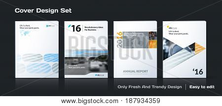Abstract vector business template set. Brochure layout, cover modern design annual report, poster, A4 flyer with grey squares, triangles, diagonal geometric shapes lines with texture background.