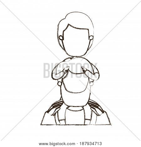 blurred thin contour caricature faceless front view half body bearded father with boy on his back vector illustration
