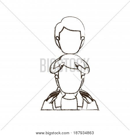 blurred thin contour caricature faceless half body young father with boy on his back vector illustration