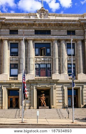 Butte, Montana, USA - 07/21/2015: The Butte-Silver Bow City-County Government building on West Granite Street in Butte Montana