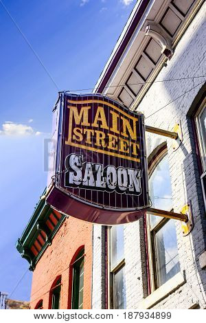 Butte, Montana, USA - 07/21/2015: The Main Street Saloon overhead sign in Butte Montana