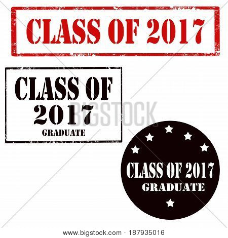 Set of stamps with text Class Of 2017, vector illustration