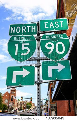 Butte, Montana, USA - 07/21/2015: Street sign for Business Interstate-15 and 90 in Butte Montana