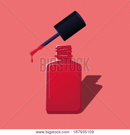 Red nail polish. Manicure set on a pink background. Vector illustration.
