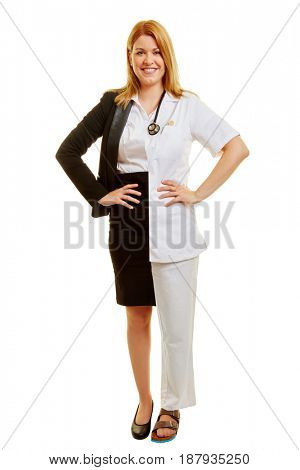 Woman during her apprenticeship with dual studies half doctor half businesswoman