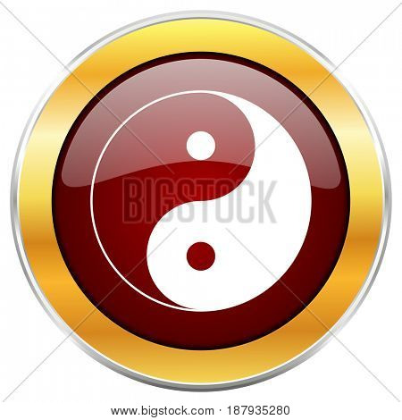 Ying yang red web icon with golden border isolated on white background. Round glossy button.