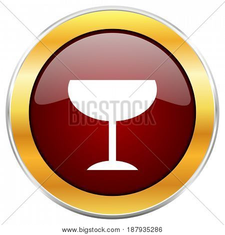 Alcohol  red web icon with golden border isolated on white background. Round glossy button.