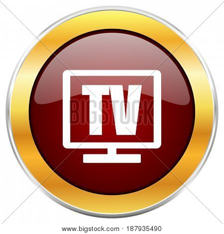 Tv red web icon with golden border isolated on white background. Round glossy button.