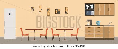 Dining room in the office. There are tables, orange chairs, kitchen cabinets, a fridge, a microwave, a kettle and a coffee machine in the image. There is a pictures on the wall. Vector illustration.