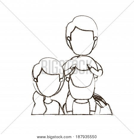 blurred thin contour caricature faceless front view half body family parents with boy on his back vector illustration
