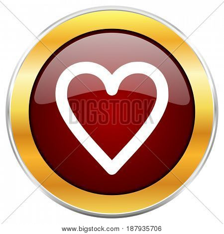 Heart red web icon with golden border isolated on white background. Round glossy button.