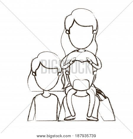 blurred thin contour caricature faceless front view half body family parents with girl long hairstyle on his back vector illustration