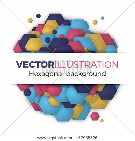 Banner template vector illustration. Abstract background from colorful hexagons. Simple but stylish round shape hexagonal template with space for text.