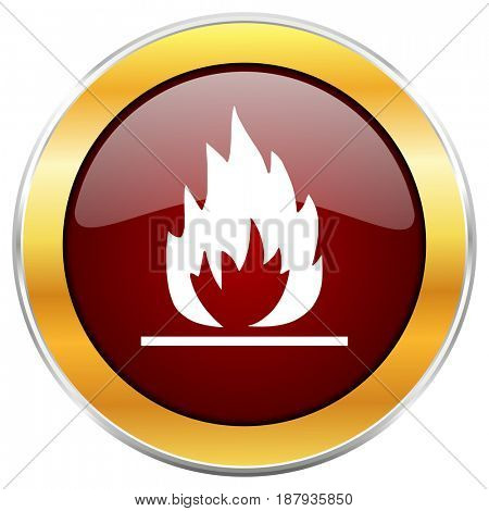 Flame red web icon with golden border isolated on white background. Round glossy button.