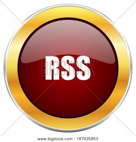 Rss red web icon with golden border isolated on white background. Round glossy button.