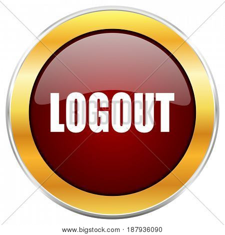 Logout red web icon with golden border isolated on white background. Round glossy button.