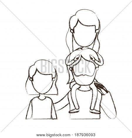 blurred thin contour caricature faceless front view half body family with short hair woman and bearded man with girl on his back vector illustration