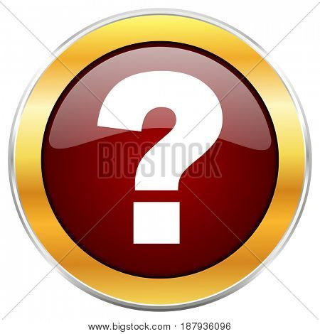 Question mark red web icon with golden border isolated on white background. Round glossy button.