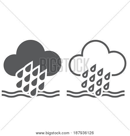 Flood weather icon. solid and outline isolated on white