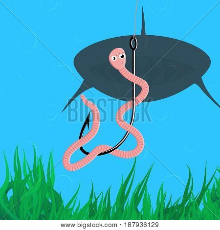 Earthworm swirling around the fishing hook immersed in the water. Striped worm make surprising face with feeling that someone is behind him. Shark silhouette swims to the angleworm. Vector illustration of the bait with bubbles and algae elements