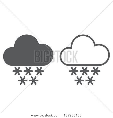 Snow weather icon. solid and outline isolated on white