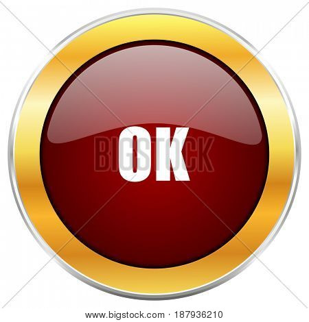 Ok red web icon with golden border isolated on white background. Round glossy button.