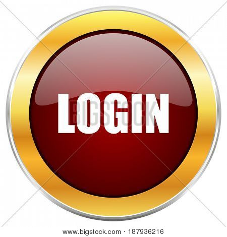 Login red web icon with golden border isolated on white background. Round glossy button.