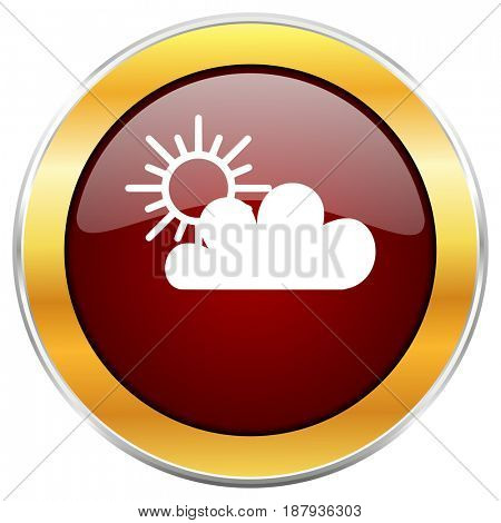Cloud red web icon with golden border isolated on white background. Round glossy button.