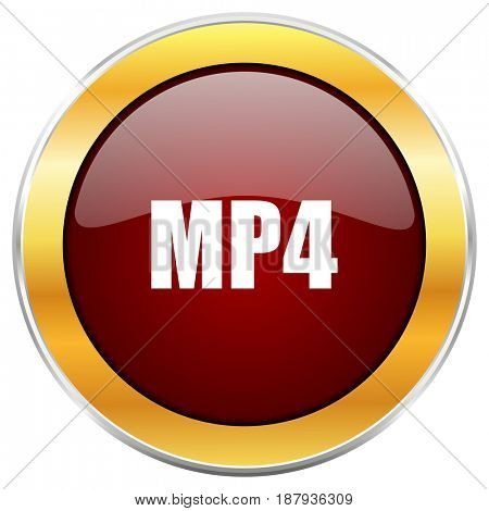 MP4 red web icon with golden border isolated on white background. Round glossy button.
