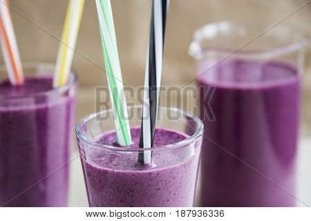 Vitamin smooth cocktail smoothies with blueberries and yogurt