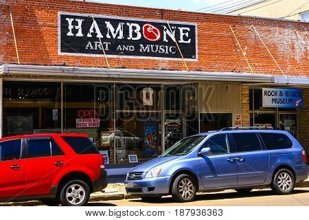 Clarksdale, MS, USA - 06/10/2015: Hambone Art and Music store in Clarksdale Mississippi