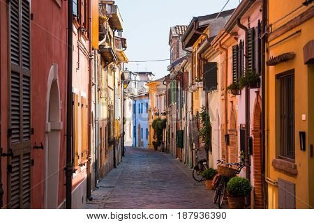 Fishing street with colorful houses in Rimini Italy
